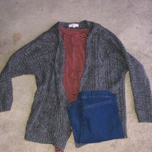 Pink Republic - Gray knitted sweater cardigan
